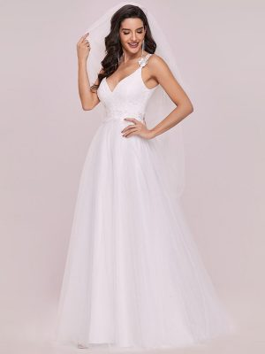 Double V Neck Lace Bodice Maxi A-line Wedding Gown