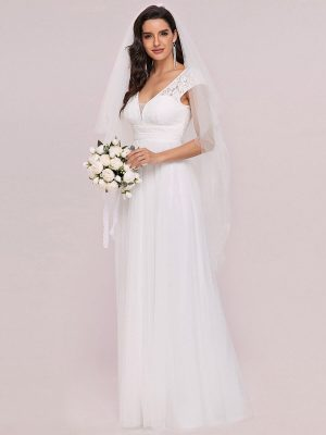 Cap Sleeve Lace V-Neck A-line Wedding Gown