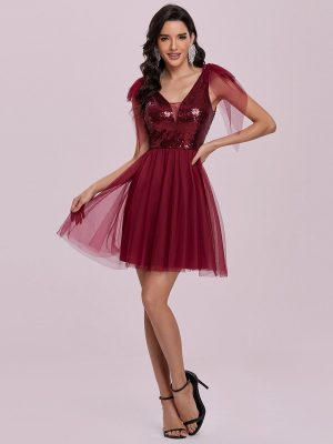 EY0133bBD burgundy short evening gown eternally yours