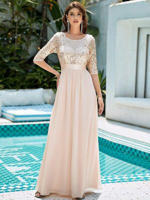 ey0683rg rose gold long evening gown with 3/4 sleeve sequin bodice and chiffon skirt eternally yours