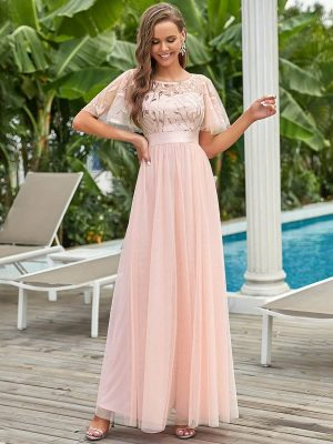 ey0904pk pink long chiffon evening gown with soft sleeves eternally yours