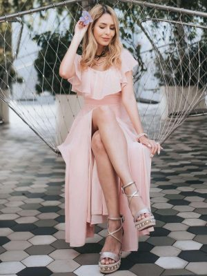 ey0968pk pink off shoulder long evening gown with slit eternally yours