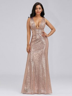 ey7109gr rose gold sparkly rose gold long evening gown eternally yours