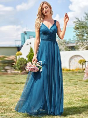 ey7303te tulle teal long evening gown eternally yours