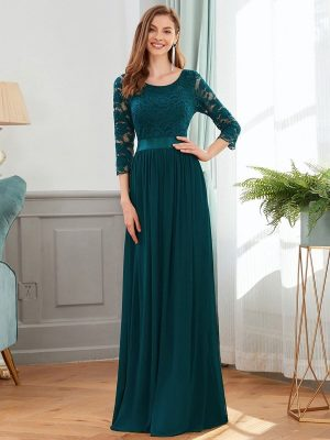 ey7412te three quarter lace sleeve teal and chiffon long evening gown eternally yours