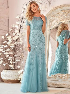 ey7509db blue detailed bodice and chiffon long evening gown eternally yours