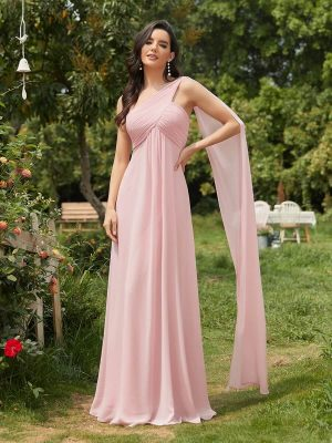 ey9816pk one shoulder pink long evening gown eternally yours