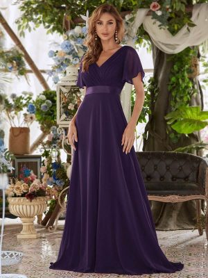 ey9890dp purple chiffon long evening gown with soft sleeves eternally yours