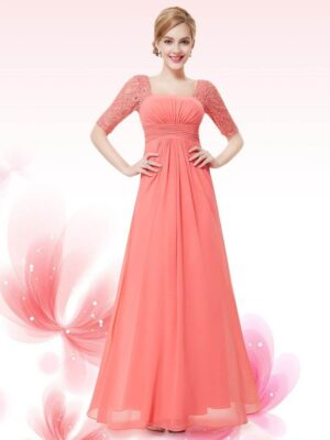 ey8038-co coral long evening gown with lace sleeves