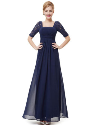 ey8038-nb navy blue long evening gown with lace sleeves