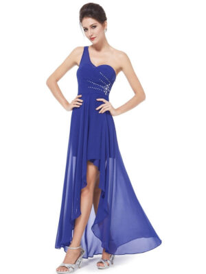 ey8100-bl blue chiffon one shoulder short evening gown with diamante detail