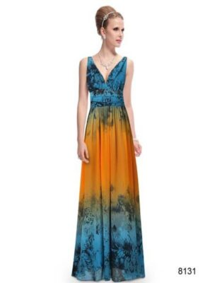 ey8131 orange and blue print ombre long evening gown