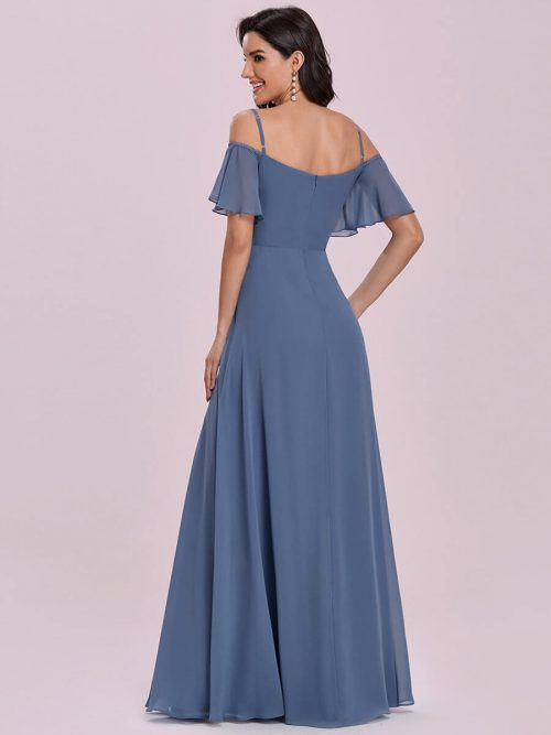 ey0237dn blue chiffon off shoulder long evening gown with ruffle sleeves eternally yours