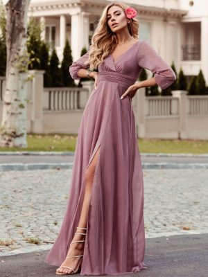 ey0739od purple pink long sleeve glitter long evening gown with slit eternally yours